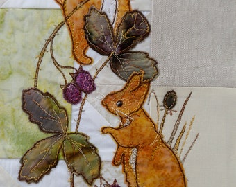 Full kit and Printed pattern for Highlands quilt block 2 squirrels and blackberries raw edge applique tutorial free motion embroidery