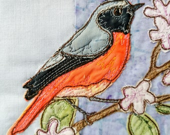 PDF pattern for A Study in Lilac block 2 nightingale redstart raw edge applique tutorial free motion embroidery