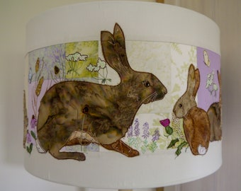 Printed pattern for Hare and Leverets lampshade raw edge applique tutorial free motion embroidery 40cm drum lampshade