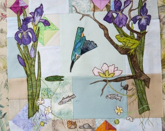 "Kingfisher frog iris lily fish riverbank 14"" square raw edge applique tutorial free motion embroidery clematis purple batik sycamore"