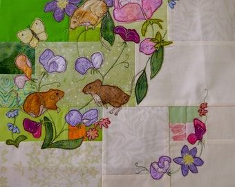 PDF pattern Tree of Life BOM Month 9 Early Summer Harvest Mice quilt applique pattern