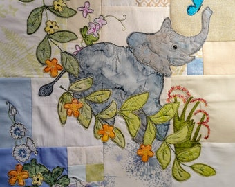 Printed pattern for Circle of Life BOM Month 3 Africa baby elephant butterflies