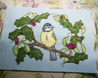 Pattern for Bluetit with holly and mistletoe wreath raw edge applique tutorial free motion embroidery