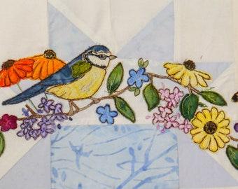 Printed Summer wreath BOM Month 6 Bluetit andflowers