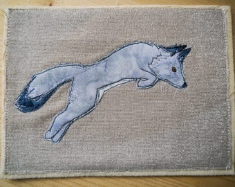 Pattern and kit for Arctic Fox raw edge applique tutorial free motion embroidery