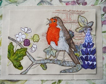 Fabric kit for Summer Robin embroidery raw edge applique free motion embroidery