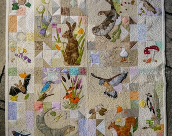 Printed pattern for Rainbow Sherbet Border 3 squirrel and mole free motion embroidery patchwork