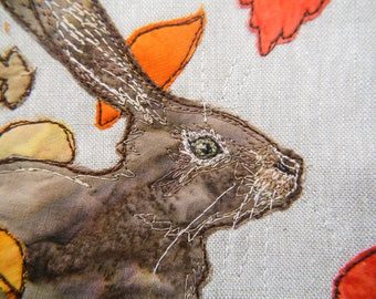 PDF pattern for Autumn Hare raw edge applique tutorial free motion embroidery