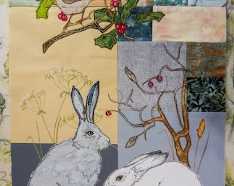 Fabric kit and pattern for Block of the month 12 arctic hare, wren, holly raw edge applique tutorial free motion embroidery grey