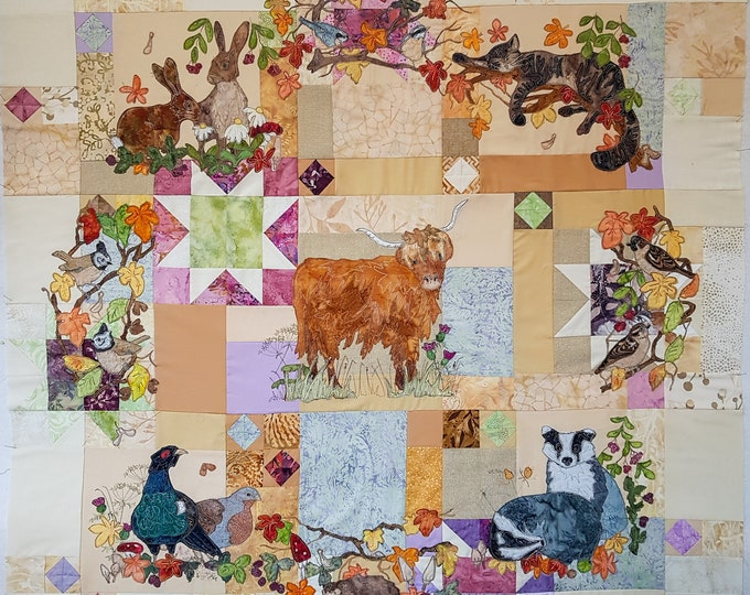 Featured listing image: Full PDF pattern set Autumn wreath quilt pattern