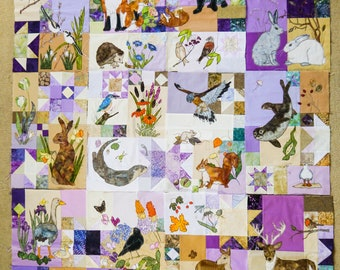Printed pattern set for BoM English wildlife free motion embroidery patchwork Inner 12 patterns only
