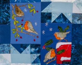 printed pattern and fabric kit for Winter Wren and robin wall hanging raw edge applique tutorial free motion embroidery