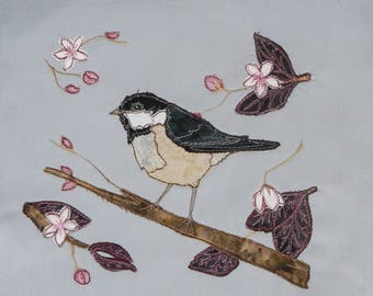 printed pattern and fabric kit for coaltit and cherry blossom raw edge applique tutorial free motion embroidery