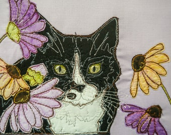 PDF pattern for Susie the cat raw edge applique tutorial free motion embroidery