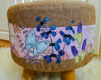 PDF pattern for removable footstool cover, summer butterflies raw edge applique free motion embroidery