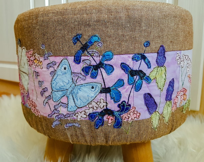 Featured listing image: Fabric kit (without footstool) and pattern for removable footstool cover, summer butterflies raw edge applique free motion embroidery