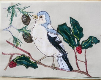 PDF pattern for Chaffinch and Holly winter bird series applique tutorial free motion embroidery