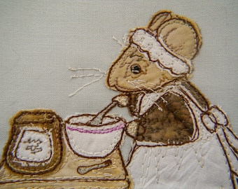 Full kit and Printed pattern for Life in the Town Victorian Mice cook Mrs Hazelton kitchen raw edge applique tutorial free motion embroidery