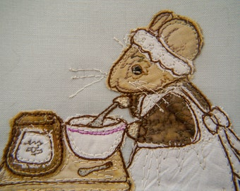 PDF pattern for Life in the Town Victorian Mice cook Mrs Hazelton kitchen raw edge applique tutorial free motion embroidery