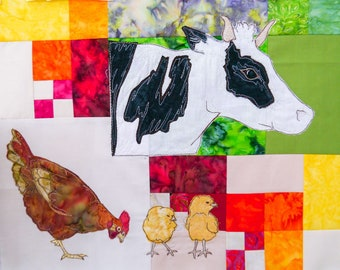 PDF pattern Farmyard Rainbow Block 5 Cow and chickens (Free motion embroidery, raw edge applique, quilt)
