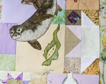 Fabric kit and pattern for Block of the month 9 Seals and seagull raw edge applique tutorial free motion embroidery