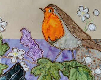 PDF pattern for A Study in Lilac block 4 cuckoo and robin raw edge applique tutorial free motion embroidery