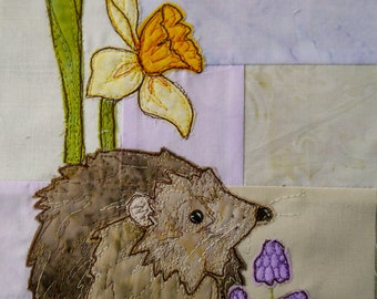 PDF pattern for Ellie's rainbow quilt part 1 hedgehog and daffodils  raw edge applique tutorial free motion embroidery