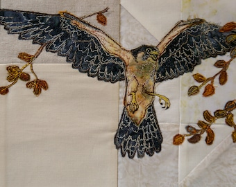 Printed pattern for Highlands quilt block 4 Peregrine Falcon raw edge applique tutorial free motion embroidery