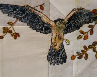 Fabric kit and printedd pattern for Highlands quilt block 4 Peregrine Falcon raw edge applique tutorial free motion embroidery