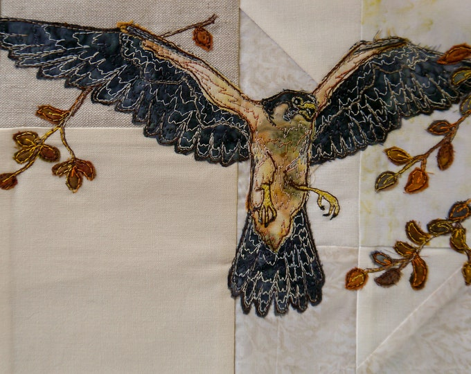Featured listing image: Fabric kit and printedd pattern for Highlands quilt block 4 Peregrine Falcon raw edge applique tutorial free motion embroidery