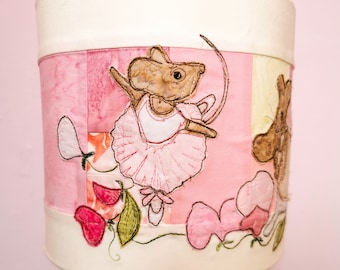 Printed pattern for Ballerina mice pretty pinks lampshade raw edge applique free motion embroidery