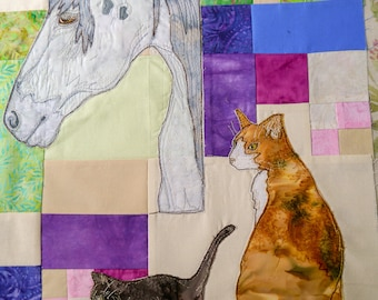 printed pattern Farmyard Rainbow Block 3  Horse and kittens (Free motion embroidery, raw edge applique, quilt)