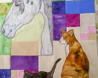 PDF pattern Farmyard Rainbow Block 3  Horse and kittens (Free motion embroidery, raw edge applique, quilt)