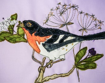 Printed pattern for Brambling and berries raw edge applique tutorial free motion embroidery