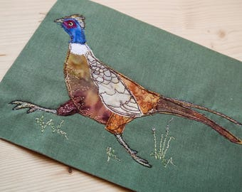 PDF pattern for Running Pheasant with grasses raw edge applique tutorial free motion embroidery
