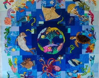 PDF pattern Sea of Life BOM Full pattern set quilt applique pattern