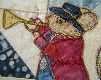 PDF pattern for Beside the seaside 4 Victorian Mice Brass Band raw edge applique tutorial free motion embroidery