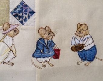 Printed pattern for Beside the seaside Victorian Mice block 5 paddlers raw edge applique tutorial free motion embroidery