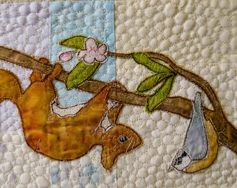 Printed pattern for Rainbow Sherbet Border panel 1 badger and squirrel free motion embroidery patchwork