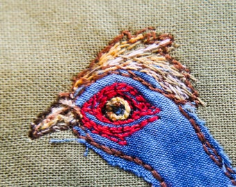 Printed pattern for running pheasant game bird raw edge applique tutorial free motion embroidery
