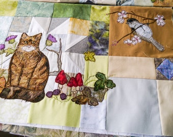 PDF pattern Block of the month 14 second border wildcat, barnowl squirre nuthatch badger raw edge applique tutorial free motion embroidery