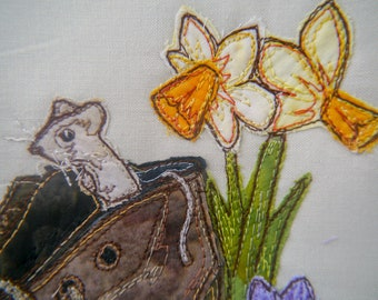PDF pattern for Hide and Seek Mice in old boot raw edge applique tutorial free motion embroidery