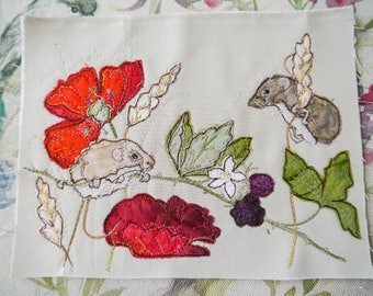 PDF pattern for harvest mice and poppies raw edge applique tutorial free motion embroidery