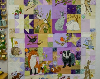 Printed pattern set for smaller BoM English wildlife free motion embroidery patchwork Inner 4 patterns plus borders