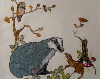 Printed pattern for Highlands quilt block 5 Badger raw edge applique tutorial free motion embroidery