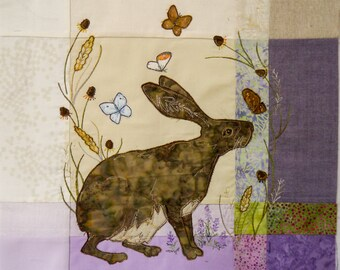"PDF pattern for Highland Hare 15"" square raw edge applique tutorial free motion embroidery"