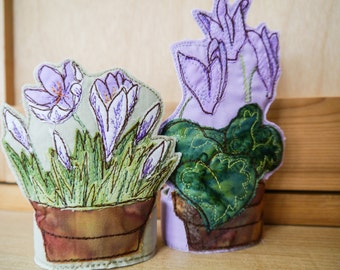 Basic PDF pattern for turning flower pot embroideries into 3D flower pots free motion textile flowers