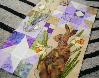 Printed pattern for Block of the month 1 hare, daffodils, tulips and crocus raw edge applique tutorial free motion embroidery