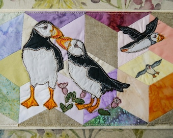 PDF pattern for Puffin pair valentine hand pieced background raw edge applique tutorial free motion embroidery