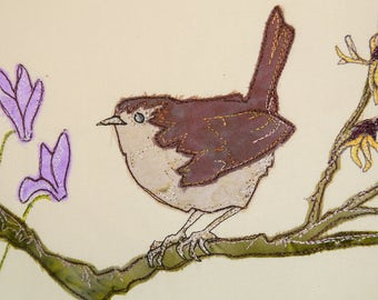 PDF pattern for Wren with Witch hazel raw edge applique tutorial free motion embroidery